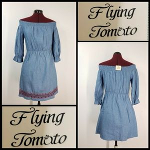 Flying Tomato Woman Off Shoulder Blue Short Dress